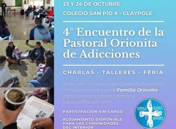 Se viene el 4° Encuentro de la Pastoral Orionita de Adicciones en Claypole